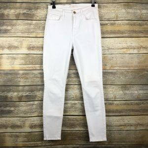 7FAM White High Waisted Skinny Jeans 24